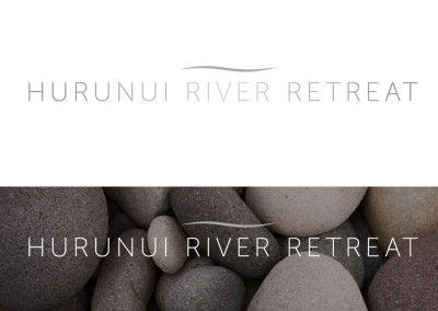 Hurunui River Retreat logo and reverse format