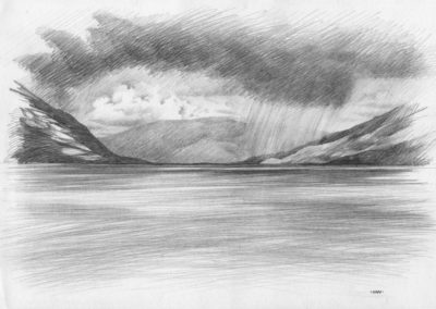 Lake_Hawea-pencil-sketch